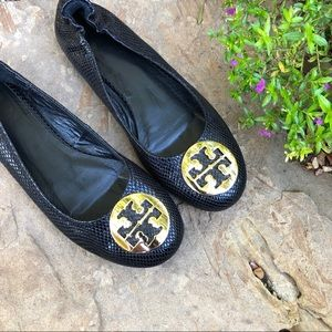 Tory Burch Reva Black Leather Snake embossed flats